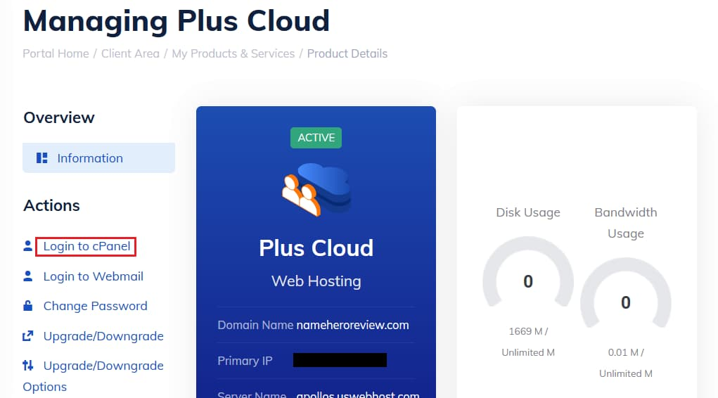 Log into cPanel from the NameHero Client Area