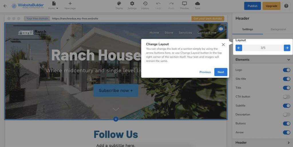Change the Layout in Hostgator Website Builder