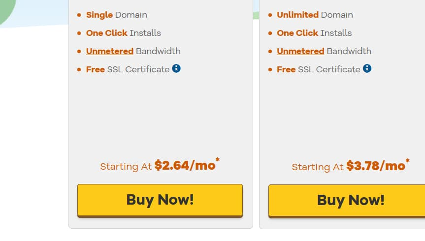 Click the Buy Now Button on Hostgator